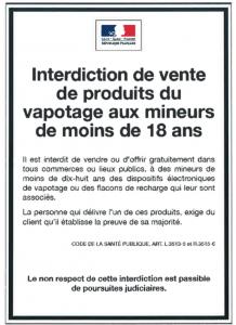 Affiche interdiction mineur vapote