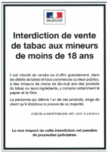 Affiche interdiction tabac
